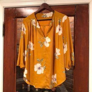 Pleione mustard yellow v neck blouse M
